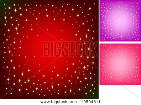Festive background for your design. Gold star and snowflakes on the bright red background with effect vignetting. VECTOR (See Jpeg Also In My Portfolio)