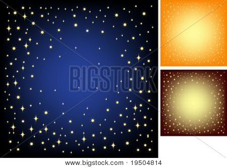 Festive background for your design. Gold stars  and snowflakes on a dark blue background with effect vignetting  Black and orange.VECTOR (See Jpeg Also In My Portfolio)