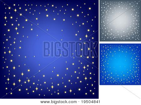 Festive background for your design. Gold stars and snowflakes on blue background with effect vignetting. VECTOR (See Jpeg Also In My Portfolio)