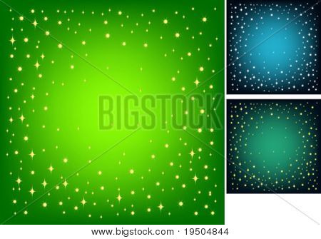 Festive background for your design. Gold star on a green background with effect vignetting. VECTOR (See Jpeg Also In My Portfolio)