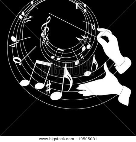 Music theme and conductor hands on a black background