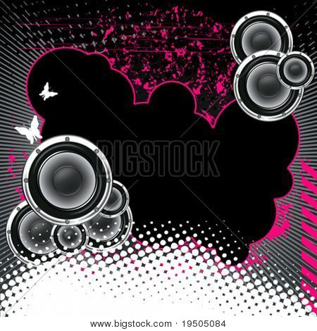 Musical poster on the background  grunge. Black with butterflies and dots.