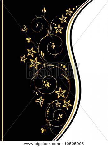 Background  with flowers and butterflies.  Elegant.  Black and Gold VECTOR (See Jpeg Also In My Portfolio)