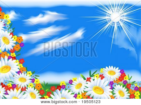 Vektor Hintergrund: Hellen Himmel mit Sonne und Wolken. Mit Blumen. Vektor (siehe Jpeg auch In meinem Por