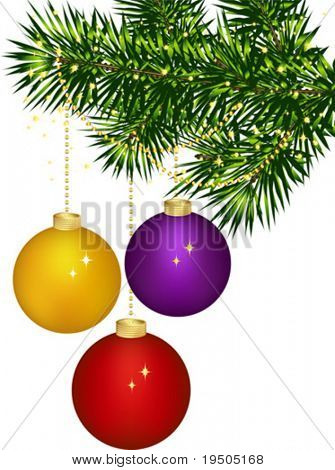 Christmas decorations Green tree branch decorated with colourful balloons. on a white background Vector (See Jpeg Also In My Portfolio)