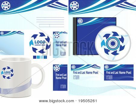 Presentation of corporate identity. Template vector forms, envelopes, business cards, note pad and mug.  Blue.