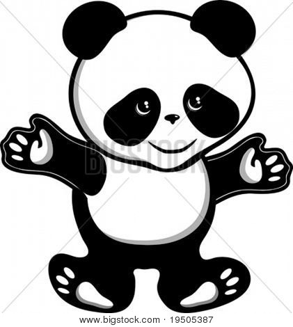 Bear panda isolated on a white background VECTOR (See Jpeg Also In My Portfolio)