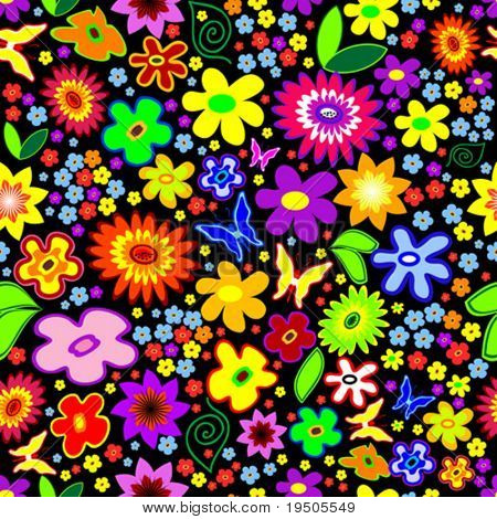 Vector Seamless Floral Background with flowers and butterflies (See raster version  Also In My Portfolio)
