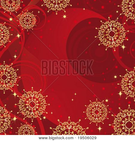 Snowflakes Christmas and New Year background decorated with gold pattern on a red background