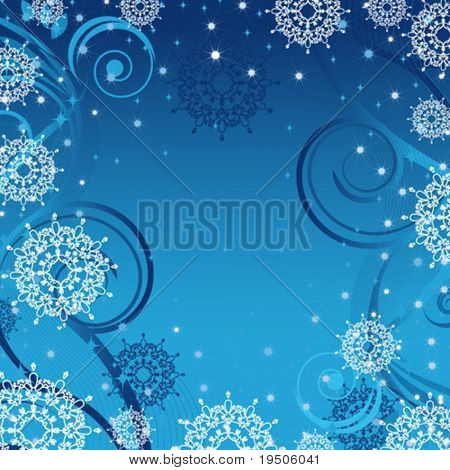Snowflakes Christmas and New Year background  decorated with blue, white, gold pattern of the Snowflakes on the blue background