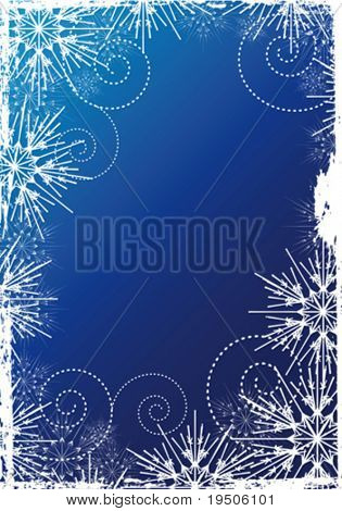 Snowflakes Christmas and New Year background, decorated grunge  white pattern of the Snowflakes on the blue background