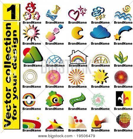 Vector logo elementos para definir estilo de negocios corporativos amarillo