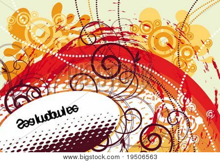 Banner for your text, decorated with plant and grunge elements, stained, spray, wavelets, beads on a green, orange, red and white background. VECTOR (See Jpeg Also In My Portfolio)