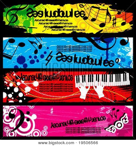 Banners decorated with musical symbols. and grunge elements, stained, spray, beads on a red, blue, yellow, green, lilac, pink background. VECTOR (See Jpeg Also In My Portfolio)