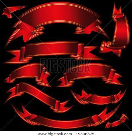 Conjunto banderas cintas heráldicos rojos