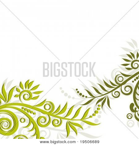 Floristic ornament isolated Green