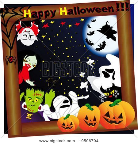 Halloween background decorated with yellow pumpkins, spiders, bats, witch, Dracula, Frankenstein, skull, cats, mummies, ghosts the backdrop of sky, moon and stars VECTOR See Jpeg Also In My Portfolio