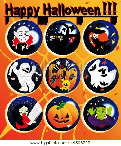 Halloween icons decorated with yellow pumpkins, spiders, bats, witch, Dracula, Frankenstein, skull, cats, mummies, ghosts the backdrop of night sky, moon and stars VECTOR See Jpeg Also In My Portfolio