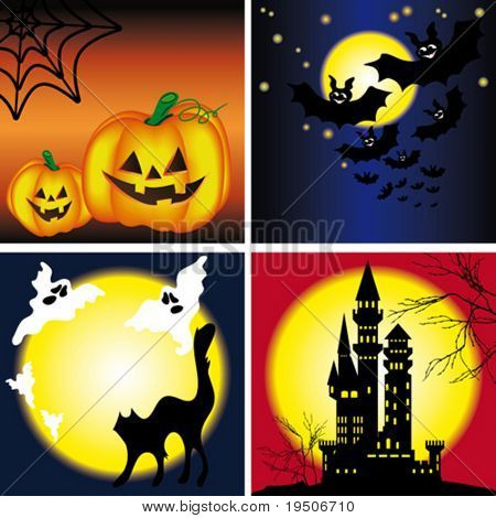 Halloween backgrounds set. decorated with yellow pumpkins, web, bats, black cats, tree branches, the castle against the backdrop of night sky, moon and stars VECTOR (See Jpeg Also In My Portfolio)