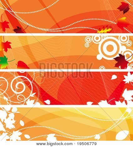 Banners set for your text, decorated with white silhouettes plant. and grunge elements on an orange, red and white background. VECTOR (See Jpeg Also In My Portfolio)