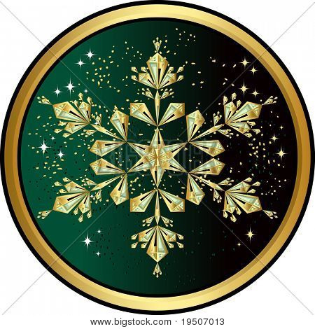 Gold snowflake Christmas and New Year background, decorated with patterns of golden snowflakes on the black and green background JPG (See Vector  Also In My Portfolio)