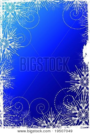 Snowflakes Christmas and New Year background, decorated grunge  white pattern of the Snowflakes on the blue background JPG (See Vector  Also In My Portfolio)