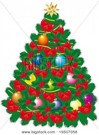 Christmas decorations Green Christmas tree decorated with a Star, coloured balls, bows and beads. isolated on a white background JPG (See Vector  Also In My Portfolio)
