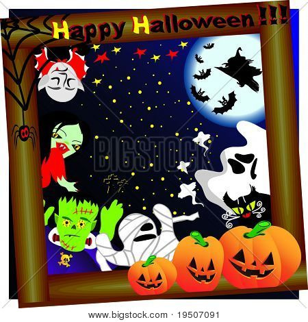 Halloween background decorated with pumpkins, spiders, bats, Dracula, Frankenstein, skull, black cats, mummies, ghosts the backdrop of night sky, moon and stars JPG (See Vector  Also In My Portfolio