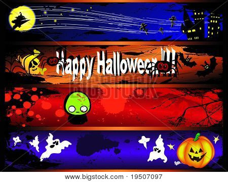 Halloween banners decorated with yellow pumpkins, spiders, bats, witch, skull, ghosts against the backdrop of night sky, the castle, moon and stars JPG (See Vector  Also In My Portfolio)