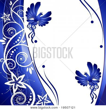Bird. kerb decorated with blue patterns of flowers leaves spirals isolated on a white background JPG (See Vector  Also In My Portfolio)