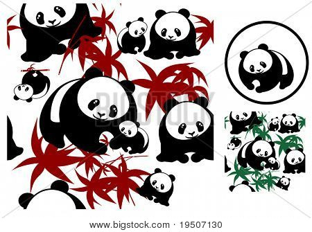 Bear panda mother and young  and bamboo leaves isolated on a white background JPG (See Vector  Also In My Portfolio)