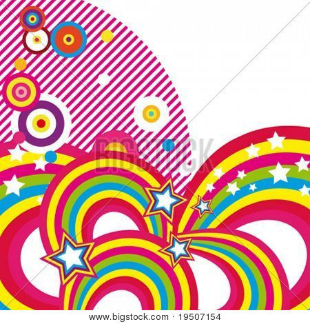Festive abstract background of the brightest bands, arcs, circles and stars on a white background. 3/22. VECTOR (See Jpeg Also In My Portfolio)