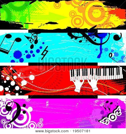 Banners decorated with musical symbols. and grunge elements, stained, spray, beads on a red, blue, yellow, green, lilac, pink background. JPG (See Vector  Also In My Portfolio)
