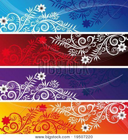 Banderas de conjunto para su texto decorado con motivos florales de ramas y hojas en azul, naranja, rojo