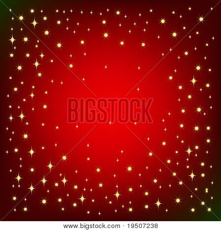 Festive background for your design. Gold star and snowflakes on the bright red background with effect vignetting. JPG (See Vector  Also In My Portfolio)