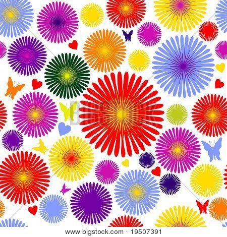 Papel de parede sem costura com ornamentos decorativos. A decoração de flores coloridas, borboletas e ouvir