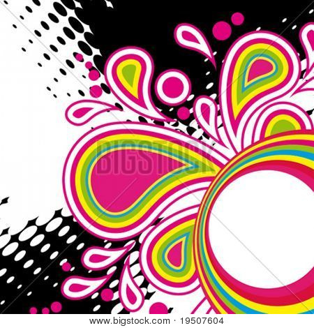 Festive abstract background of the brightest bands, arcs, circles and stars on a white background.