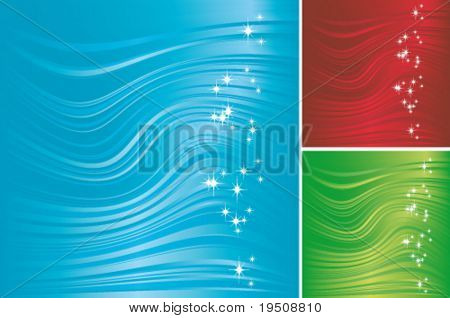 Vector Abstract festive background. The decor of the waves, bands and groups of stars on a red, blue, green background. (See raster version  Also In My Portfolio)