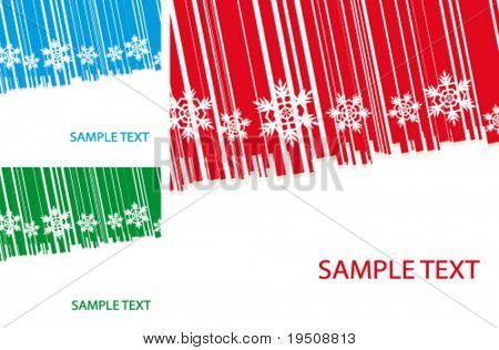 Vector New Year and Christmas background. The decor of the White Snowflakes. and bands. Red, blue, green. (See raster version  Also In My Portfolio)