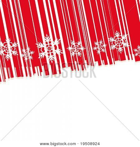Raster New Year and Christmas background. The decor of the White Snowflakes. and bands. Red (See vector version  Also In My Portfolio)