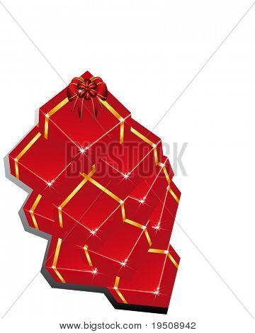 Raster Christmas and New Year's background. Pile festive boxes (See vector version  Also In My Portfolio)