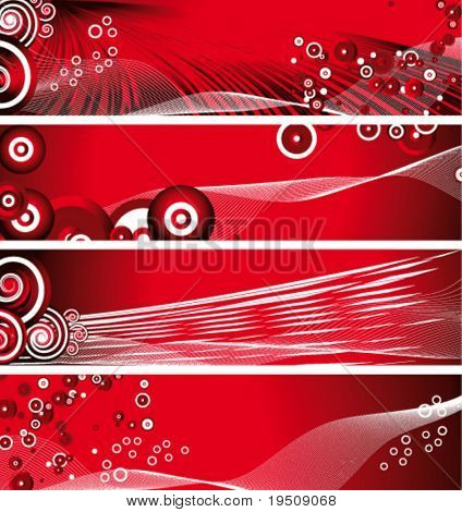 Vector. Set of banners. Circles and stripes on a red background.
