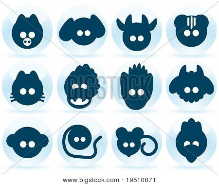 Collection of icons Chinese horoscope.