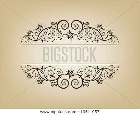 Vintage frame. Elegant. Beige. Symmetric inward.