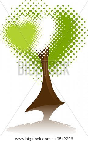 A tree with a crown of three hearts (Version vector 13165573)