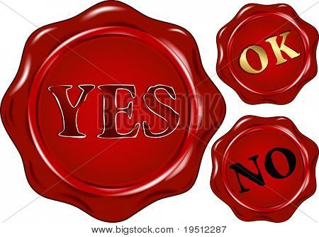 Set of wax  seals with text: YES NO OK