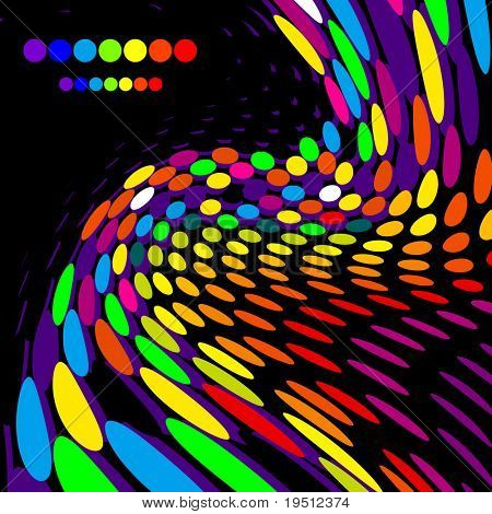 Bright creative background.At a black background.
