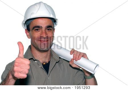 Young Architect With An Architectural Plans Showing His Thumbs Up
