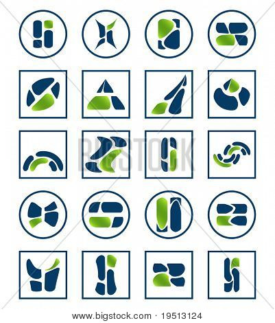 A set of abstract icons