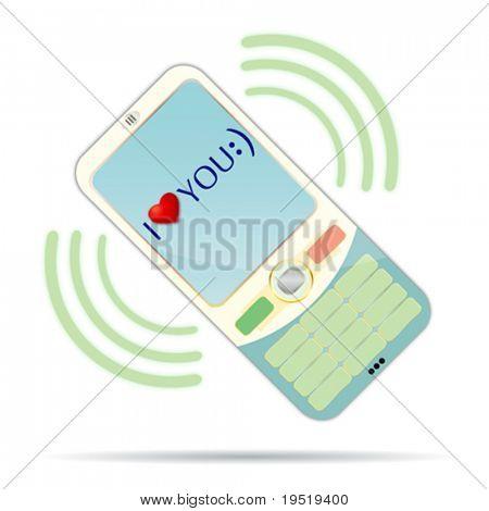Confissão de amor. Telefone girado em 45 desgrees assim você pode fácil devolvê-lo na posição vertical.